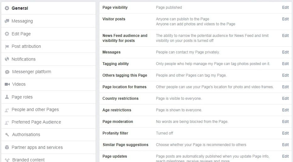General settings on Facebook Business Page
